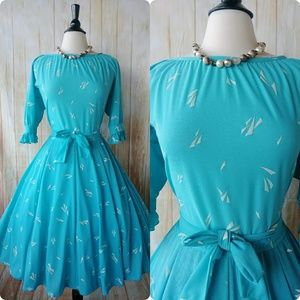 Dresses & Skirts - Vintage Teal and White Print Flare Dress